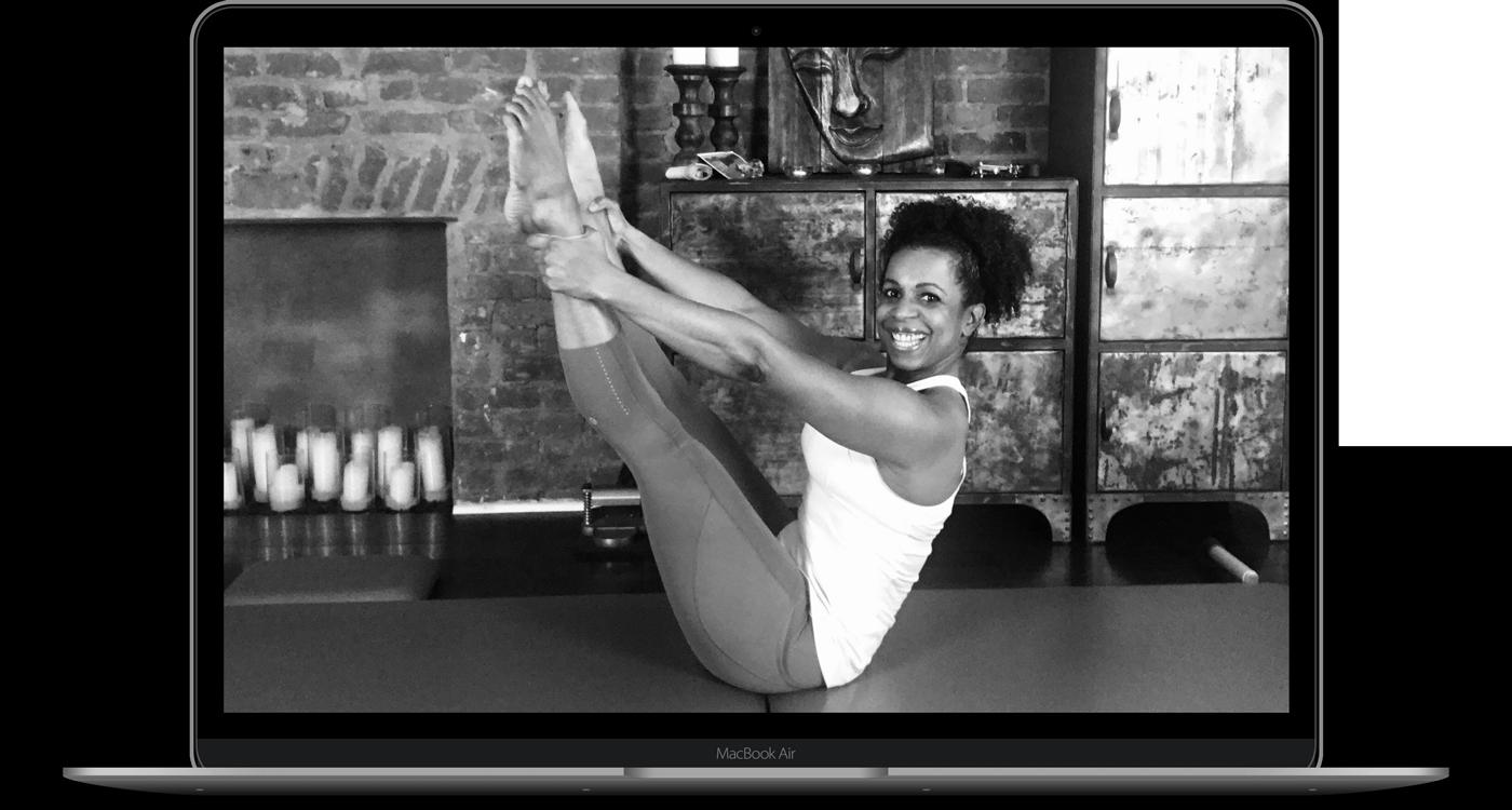 Kira Lamb instucting a virtual pilates class